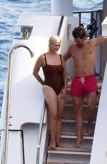 KATY PERRY in Swimsuit and Orlando Bloom Kissing at a Yacht in Capri 08/01/2021