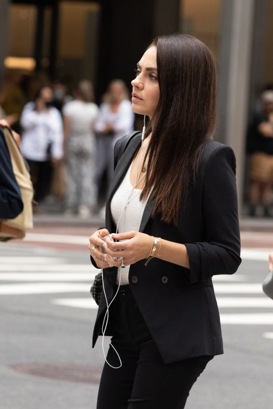 MILA KUNIS on the Set of The Luckiest Girl Alive in New York 08/28/2021