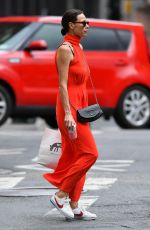 MINNIE DRIVERin a Red Dress Out in New York 08/01/2021