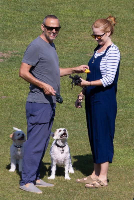 PATSY PALMER and Richard Merkell Out with Their Dogs in Malibu 08/09/2021