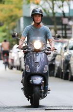 PAULINA PORIZKOVA Out Driving a Scooter in New York 08/12/2021