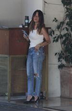 SARAH SHAHI in Ripped Denim Out for Lunch in Los Angeles 08/02/2021