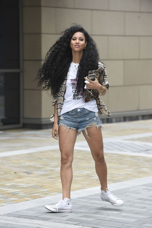 VICK HOPE in Denim Shorts Out in London 08/17/2021