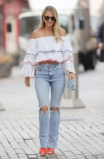 VOGUE WILLIAMS in Ripped Denim at Heart Radio in London 07/31/2021