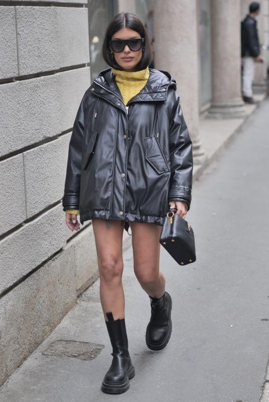 AIDA DOMENECH Arrives at Ermanno Scervino Fashion Show in Milan 09/25/2021
