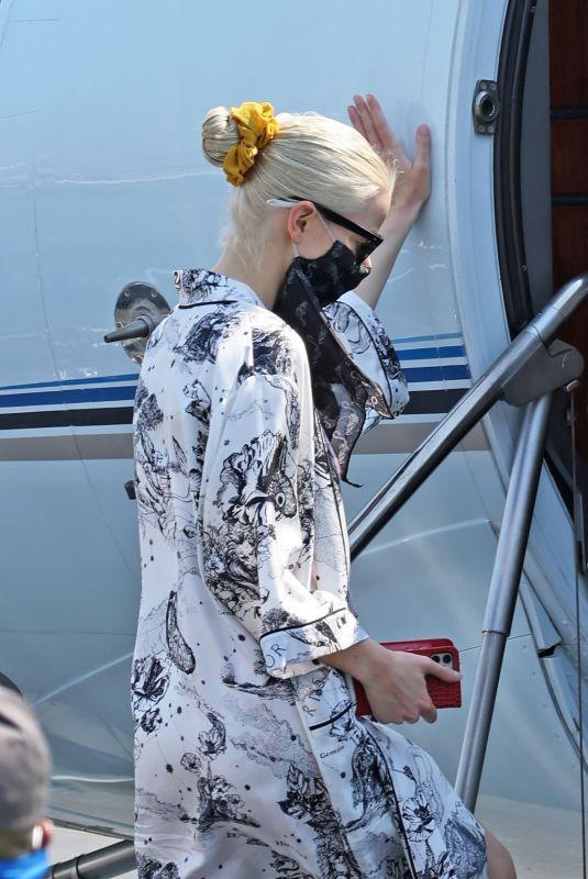 ANYA TAYLOR-JOY Boarding at a Jet at Van Nuys Airport 09/20/2021