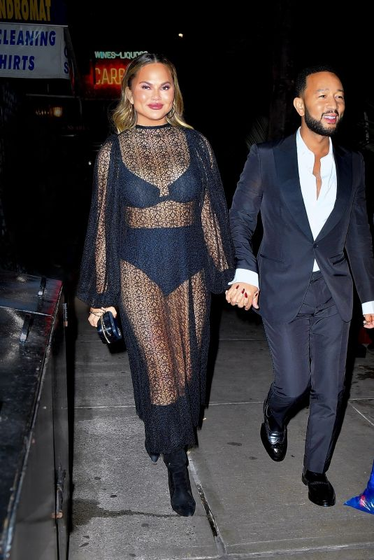 CHRISSY TEIGEN and John Legend Out for Late-night Dinner in New York 09/26/2021