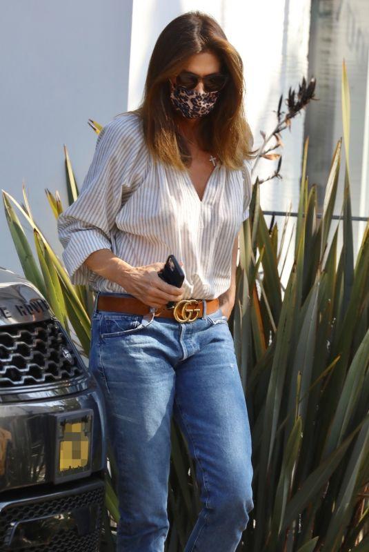 CINDY CRAWFORD Arrives at Her Cafe Habana Restaurant in Malibu 09/07/2021