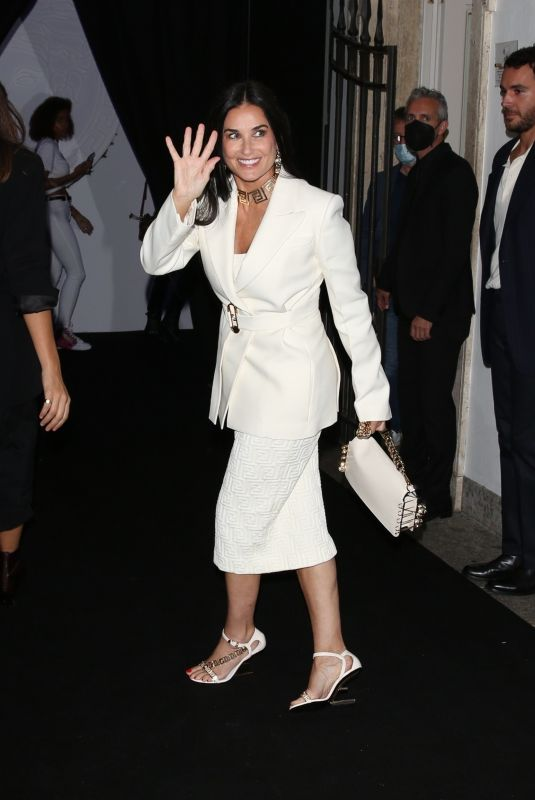 DEMI MOORE Arrives at Versace/Fendi Private Party at Milan Fashion Week 09/26/2021