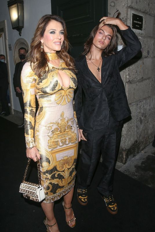 ELIZABETH HURLEY at Versace/Fendi Private Party in Milan 09/26/2021