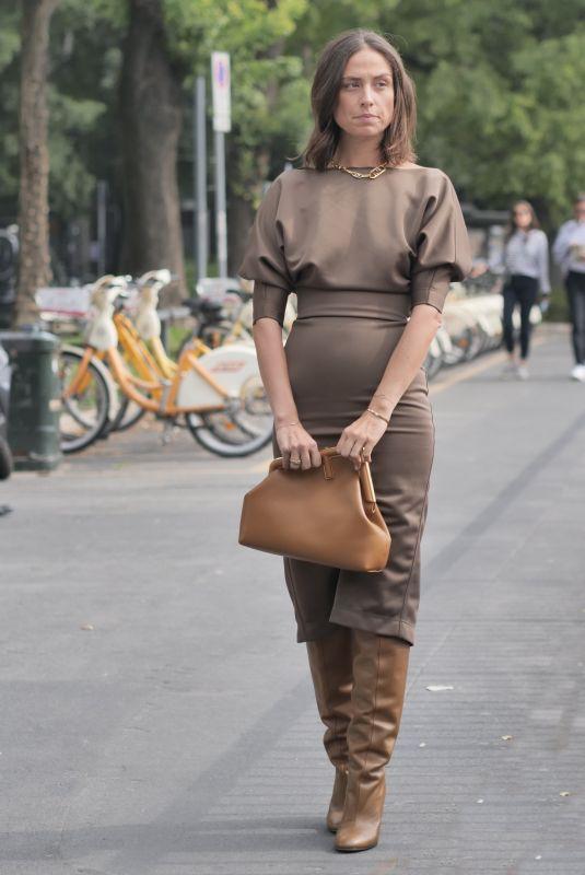 ERIKA BOLDRIN Arrives at Fendi Show at Milan Fashion Week 09/22/2021
