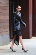 GIGI HADID All in leather Out for New York Fashion Week 09/09/2021