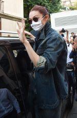 GIGI HADID Leaves Alberta Ferretti Show at Milan Fashion Week 09/22/2021