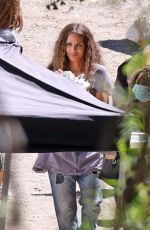 HALLE BERRY on the Set of Sweaty Betty Workout Clothes Commercial in Malibu 09/14/2021
