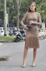 KARINA NIGAY Arrives at Fendi Fashion Show in Milan 09/22/2021