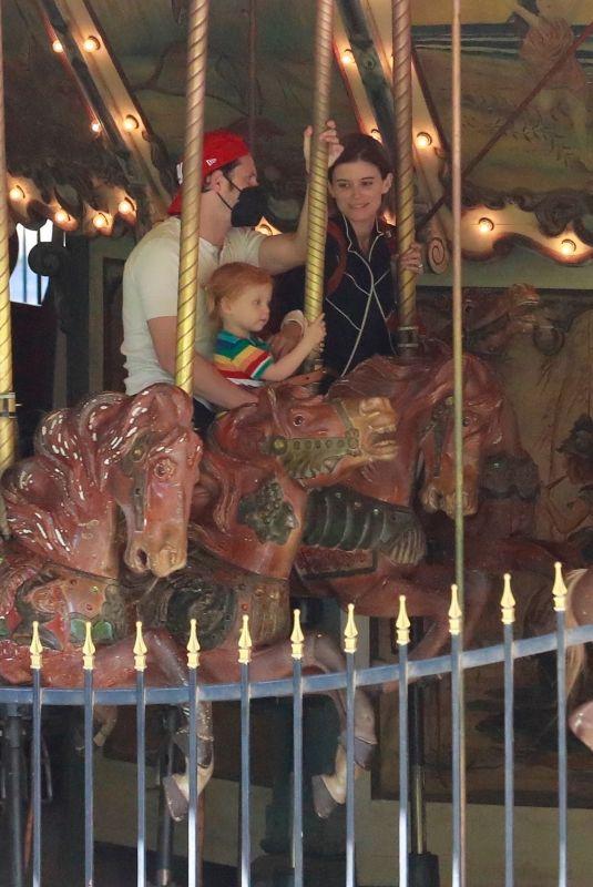 KATE MARA and Jamie Bell Riding Carousel in Los Feliz 09/20/2021