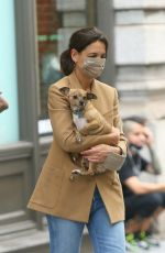 KATIE HOLMES Out for Her Dog in New York 09/17/2021