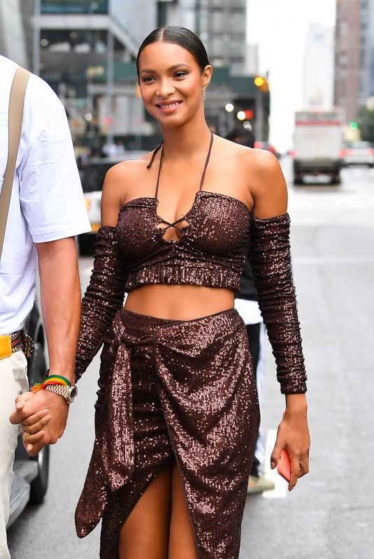 LAIS RIBEIRO Arrives at Revolve Event at New York Fashion Week 09/09/2021