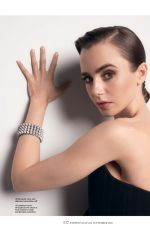 LILY COLLINS for Harper