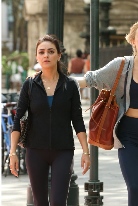 MILA KUNIS and JUSTINE LUPE on the Set of Luckiest Girl Alive in New York 08/31/2021