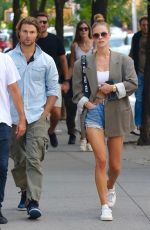 NINA AGDAL in Denim SHorts Out in New York 09/11/2021