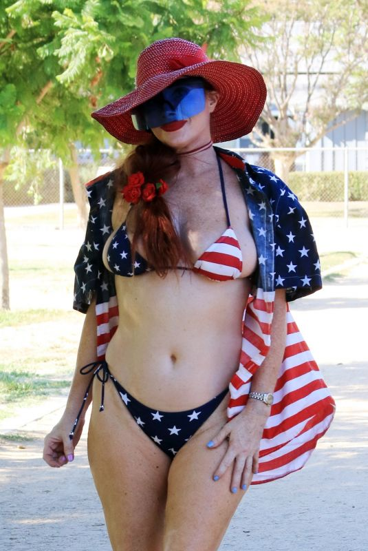 PHOEBE PRICE in American Flag Bikini on Labor Day in Los Angeles 09/06/2021