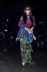 RIHANNA Arrives at a Party in Camouflage Skirt in New York 09/23/2021