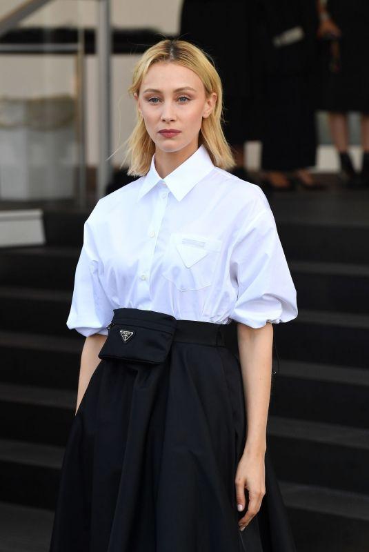 SARAH GADON Arrives at Prada Show at Milan Fashion Week 09/24/2021