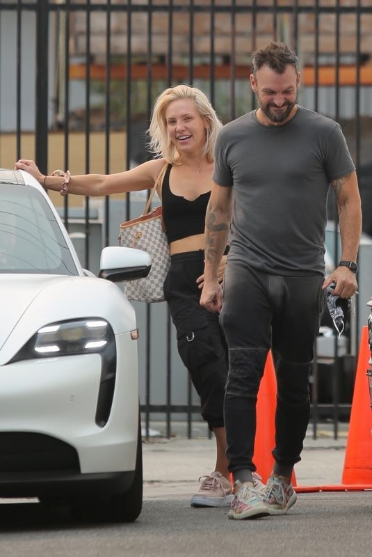 SHARNA BURGESS and Brian Austin Green Leaves DWTS Rehearsal Studio in Los Angeles 09/23/2021