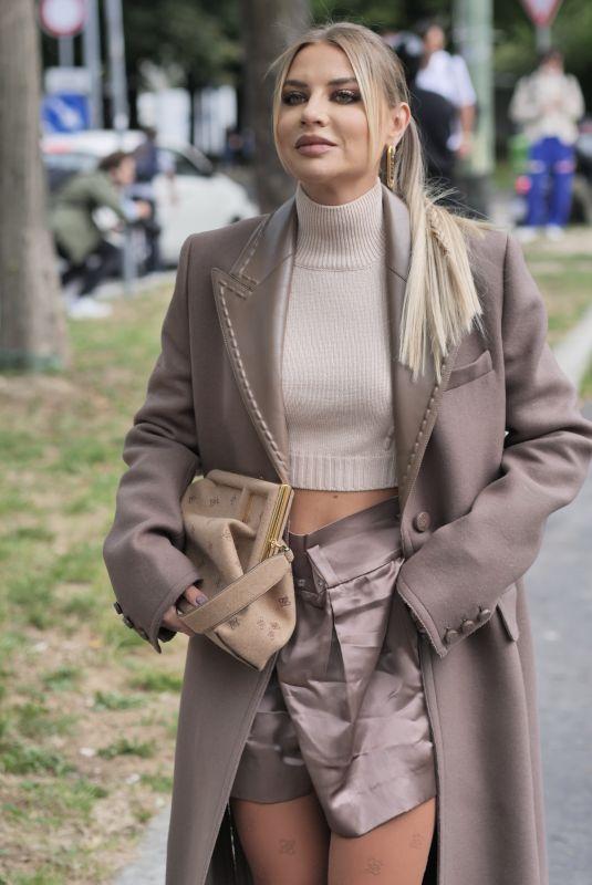 VERONICA FERRARO Arrives at Fendi Show at Milan Fashion Week 09/22/2021