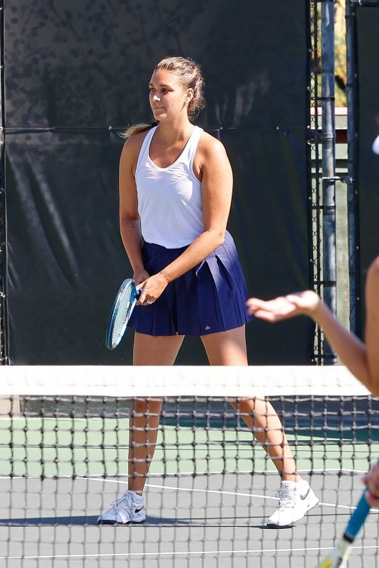 APRIL LOVE GEARY at a Tennis Game with Friends in Calabasas 10/2021