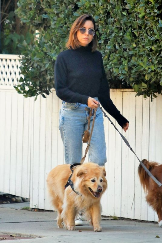 AUBREY PLAZA Out with Her Dogs in Los Feliz 10/19/2021