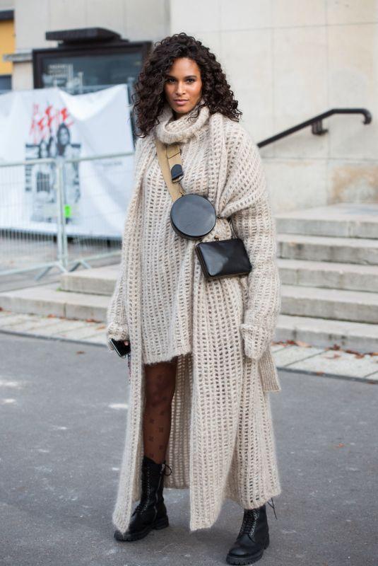 CINDY BRUNA Leaves L'Oreal Show at Paris Fashion Week 10/03/2021