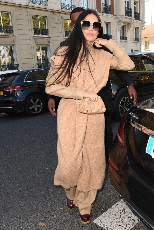 DEMI MOORE Arrives at Chloe Show at Paris Fashion Week 09/30/2021