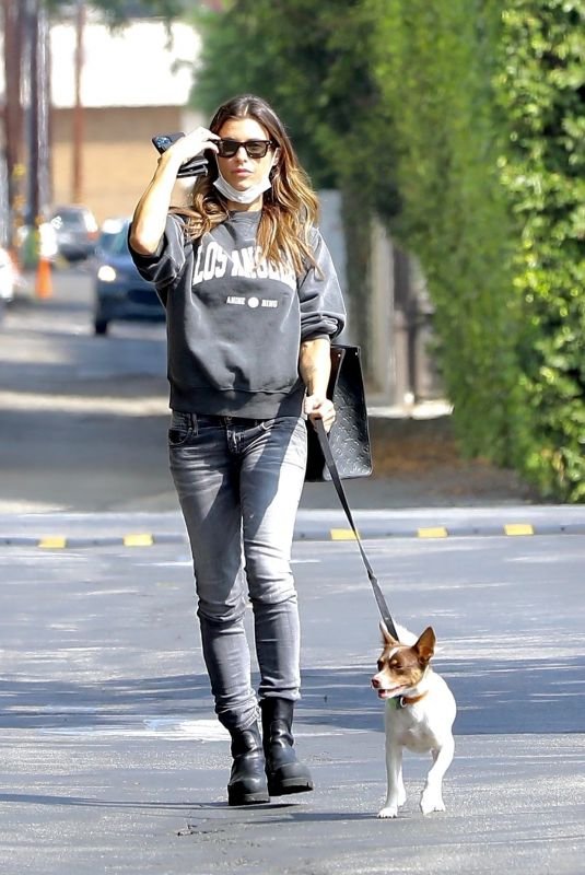ELISABETTA CANALIS Out wit Her Dog in West Hollywood 10/08/2021