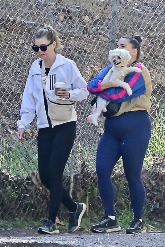 ELLEN POMPEO Out Hiking with a Friend in Los Angeles 10/10/2021