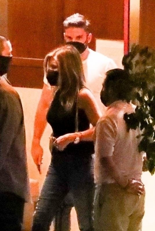 JENNIFER ANISTON Out for Dinner with a Mystery Man at Sunset Tower Hotel in Los Angeles 09/27/2021