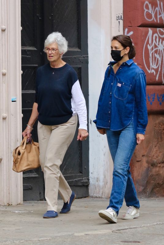 KATIE HOLMES in Double Denim Out Shopping with Her Mom Kathleen in New York 10/09/2021