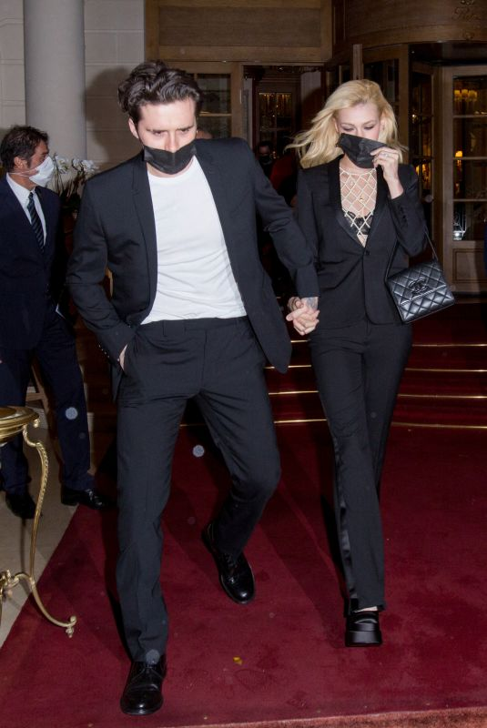 NICOLA PELTZ and Brooklyn Beckham Leaves Ritz Hotel at Paris Fashion Week 10/02/2021