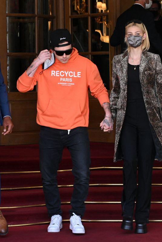 NICOLA PELTZ and Brooklyn Beckham Leaves Ritz Hotel in Paris 10/04/2021