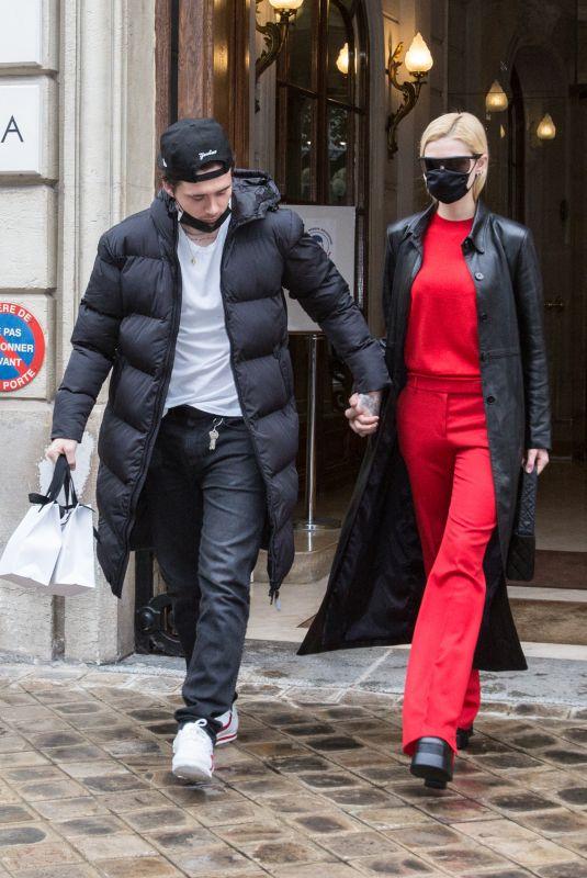 NICOLA PELTZ and Brooklyn Beckham Out at Paris Fashion Week 10/01/2021