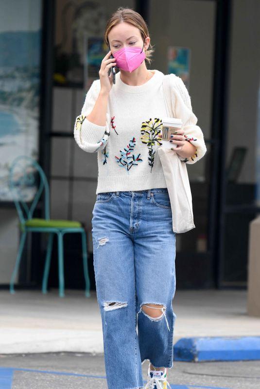 OLIVIA WILDE in Ripped Denim at Starbucks in Los Angeles 10/07/2021