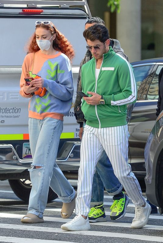 SOPHIE TURNER and Nick and Joe Jonas Out in New York 10/01/2021