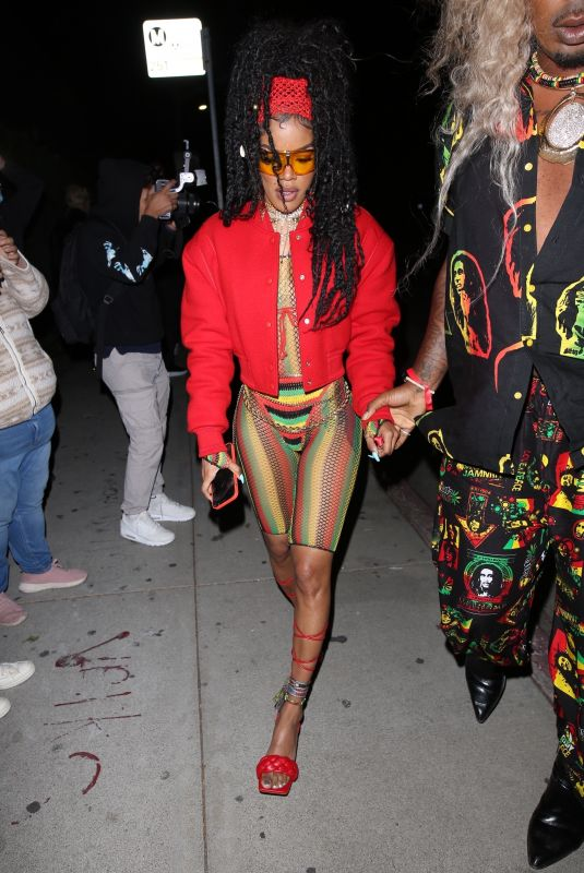 TEYANA TAYLOR Arrives at Cardi B's 29th Birthday Party in Los Angeles 10/11/2021